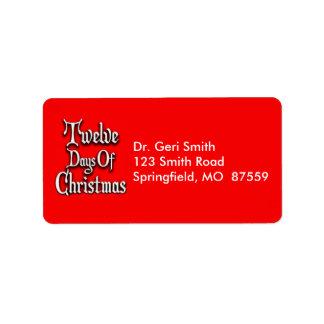 Twelve Days of Christmas Address Label