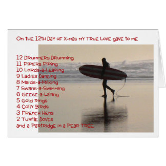 Twelve Days of Christmas on the Beach Greeting Card