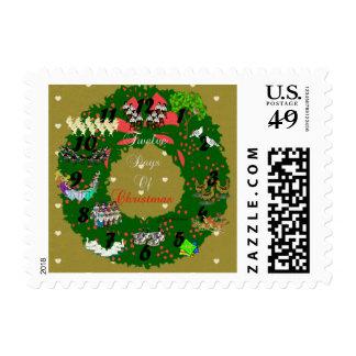 Twelve Days of Christmas Postage Stamp