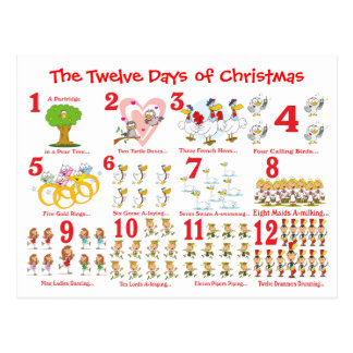 Twelve Days of Christmas Postcard