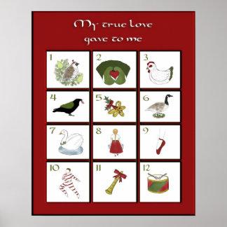 Twelve Days of Christmas Poster Print