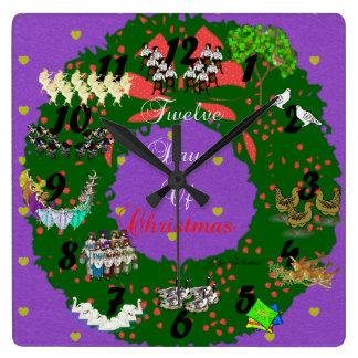 Twelve Days of Christmas Square Wall Clock