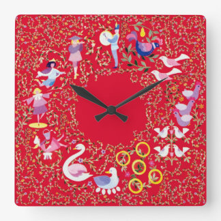 Twelve days of Christmas, style2 Square Wall Clocks