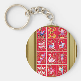 Twelve Days of Christmas, the traditional carol Basic Round Button Keychain