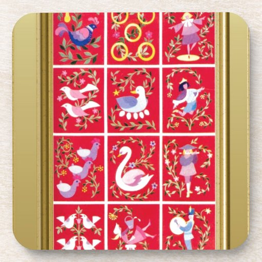 Twelve Days of Christmas, the traditional carol Beverage Coasters