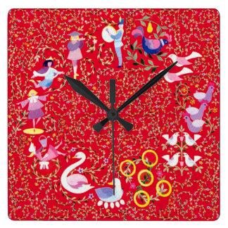 Twelve days of Christmas, traditional carol Square Wall Clock