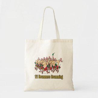 twelve drummers drumming 12th twelfth day tote bag