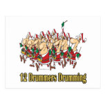 twelve drummers drumming 12th twelfth day post cards