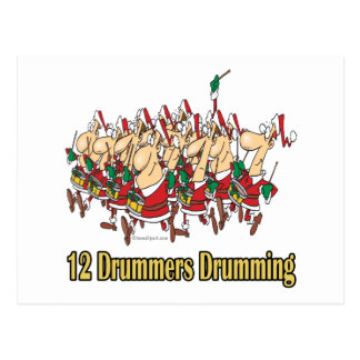 twelve drummers drumming 12th twelfth day postcard