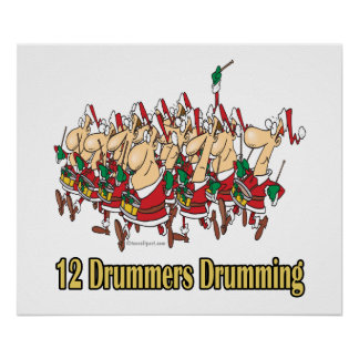 twelve drummers drumming 12th twelfth day poster