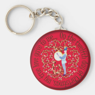 Twelve drummers drumming basic round button keychain