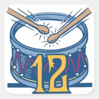 Twelve Drummers Drumming Square Sticker