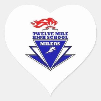 Twelve Mile, IN. High School Heart Sticker