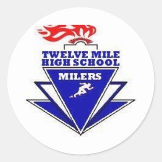 Twelve Mile, IN. High School Round Stickers
