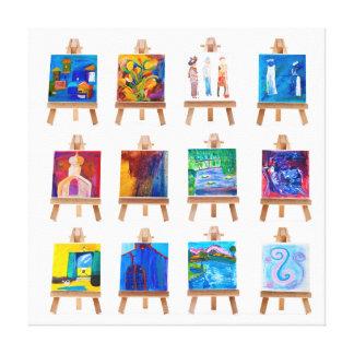 Twelve mini paintings on easels by Kay Gale Canvas Print