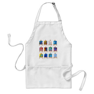 Twelve mini paintings on easels isolated on white adult apron