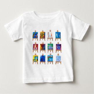 Twelve mini paintings on easels isolated on white tee shirt