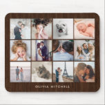 "Twelve Photo Collage | Rustic Wood Look Mouse Pad<br><div class=""desc"">This rustic,  trendy mouse pad features twelve of your favorite personal photos,  with room for your name or a message. The background is a brown wood look.</div>"