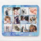 Twelve Photo Collage | Watercolor Blue Mouse Pad