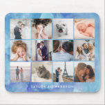 "Twelve Photo Collage | Watercolor Blue Mouse Pad<br><div class=""desc"">This chic,  trendy mouse pad features twelve of your favorite personal photos,  with room for your name or a message. The background is a watercolor blue look.</div>"
