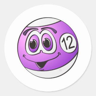 Twelve Pool Ball Cartoon Classic Round Sticker