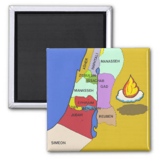 Twelve Tribes of Israel Map 2 Inch Square Magnet