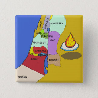 Twelve Tribes of Israel Map Pinback Button