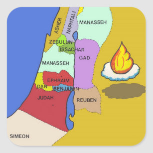 Twelve Tribes of Israel Map Square Sticker