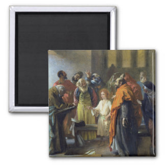 Twelve-year old Jesus in the Temple, 1851 2 Inch Square Magnet