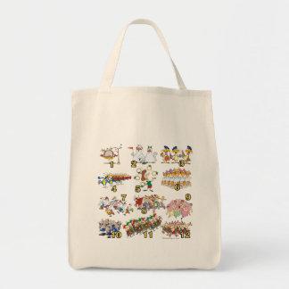 twelves days christmas song cartoon canvas bags