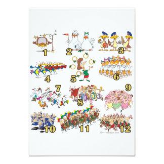 twelves days christmas song cartoon card