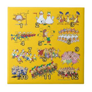twelves days christmas song cartoon ceramic tile