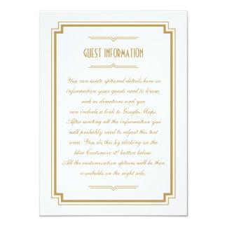 Twenties Art Deco Gold Frame Wedding Insert Card