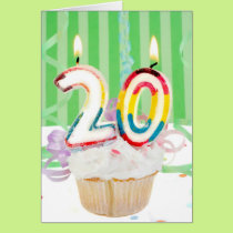 Twentieth birthday cake with candles card