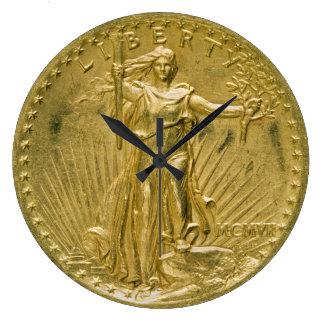 Twenty Dollar Gold Piece Liberty Sculpture 1907 Large Clock
