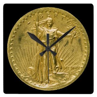 Twenty Dollar Gold Piece Liberty Sculpture 1907 Square Wall Clock