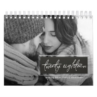 Twenty Eighteen Script Black and White Photo Calendar