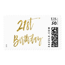 Twenty First White and Gold Foil Birthday Postage