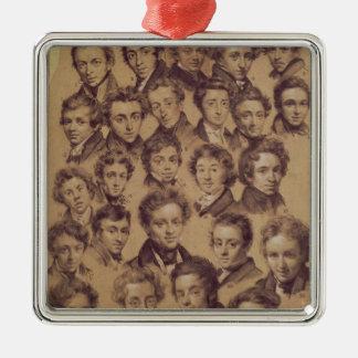 Twenty Five Pupils from the Studio of Antoine Square Metal Christmas Ornament