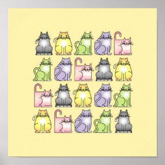 twenty humerous cartoon cats poster