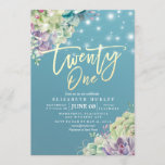 """Twenty One 21 Birthday Party Watercolor Succulent Invitation<br><div class=""""desc"""">Twenty One Birthday / 21 Invitation,  21st Birthday Party Invitation Cards Templates - Elegant lovely Watercolor Succulent Plants and String Lights on Blue Background. All Text Style,  Colors,  Sizes Can Be Modified To Fit Your Needs.</div>"""