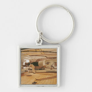 Twenty-Seven Pound Cannon on a Battleship Silver-Colored Square Keychain