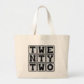 Twenty Two, Number 22 Large Tote Bag
