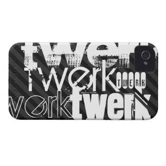 Twerk; Black & Dark Gray Stripes iPhone 4 Cases