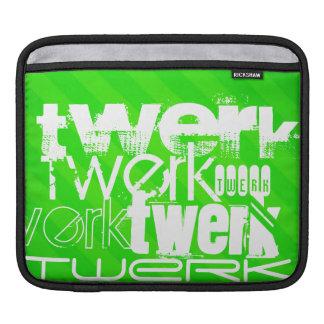 Twerk; Neon Green Stripes Sleeve For iPads