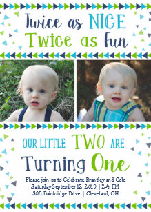 twins 1st birthday invitations zazzle