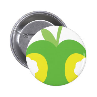 Twice bitten green apple fruit pinback button