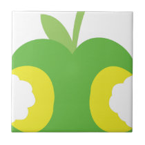 Twice bitten green apple fruit tile