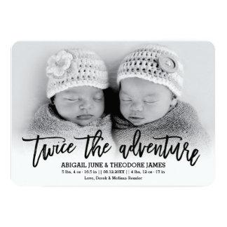 Twice the Adventure Modern Twins Birth Announcemen Card
