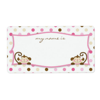 Twice the Fun GIRLS Name Tag Personalized Shipping Label